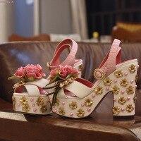Rose fleur chic bijoux plate-forme à talons hauts sandales mignon perle couture forage ligne croix en forme de chaussures de mariage peep toe sandales