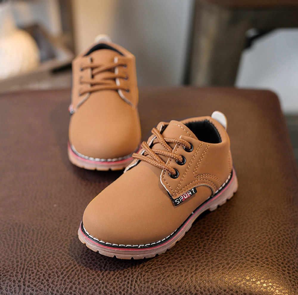2018 новая зимняя детская обувь модные мальчики девочки Мартин кроссовки кожаные сапоги резиновые детские для малыша; на каждый день Красивая обувь против скольжения