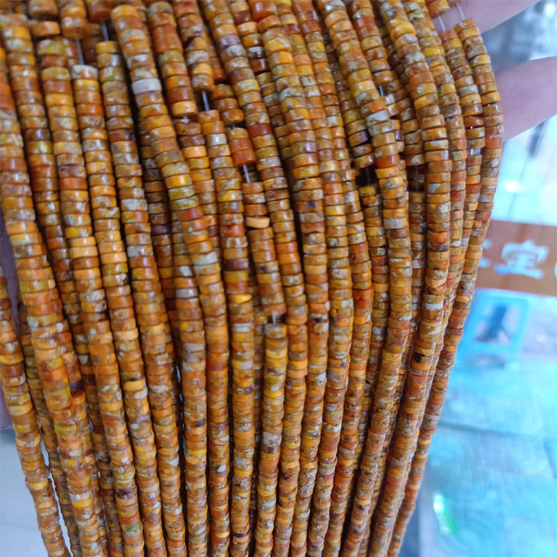 <font><b>Natural</b></font> Round Heishi Orange Imperial Jaspers <font><b>Stone</b></font> Beads <font><b>2x4mm</b></font> Loose Spacer Sea Sediment Beads For Jewelry Making Strand 15'' image