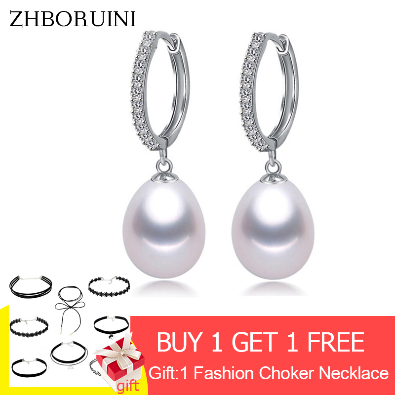 ZHBORUINI 2019 Pearl Earrings Genuine Natural Freshwater Pearl 925 Sterling Silver Earrings Pearl Jewelry For Wemon Wedding Gift