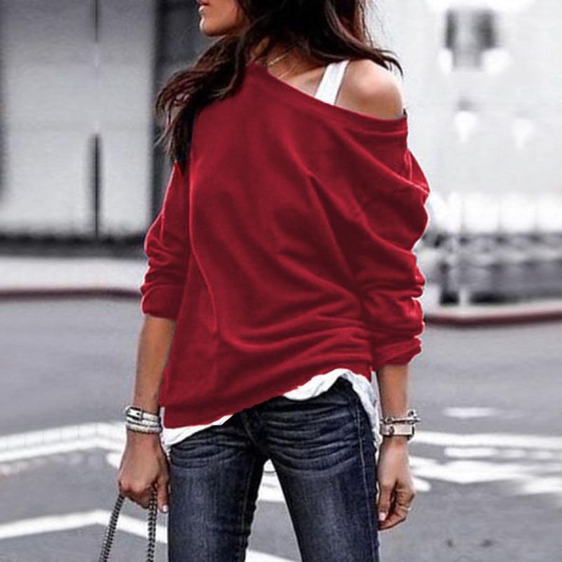 19 New Autumn Long Sleeve Women Casual Sweatshirts Off Shoulder Black Gray Tops Sweatshirts Streetwear Female Loose Sweatshirt 11