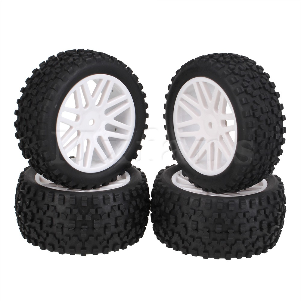 все цены на  Mxfans 4x White Front Rear Wheel Rim Rubber Tyre Tires for RC 1:10 Off-Road  онлайн