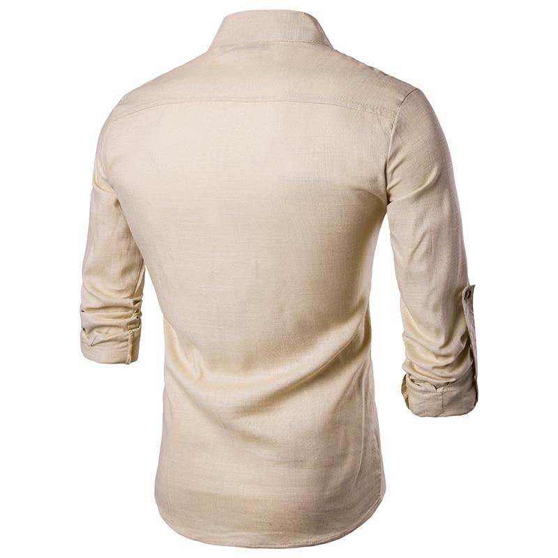 Image 5 - 2019 Мужская Повседневная рубашка с длинным рукавом, рубашки с воротником стойкой, одноцветная Традиционная рубашка в китайском стиле, хлопковая Смешанная рубашка размера плюс-in Повседневные рубашки from Мужская одежда