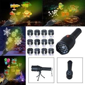 LED Flashlight Christmas 12pcs Cards Halloween Birthday Xmas Party Landscape Lighting Festival Insert Card Projection Lamp
