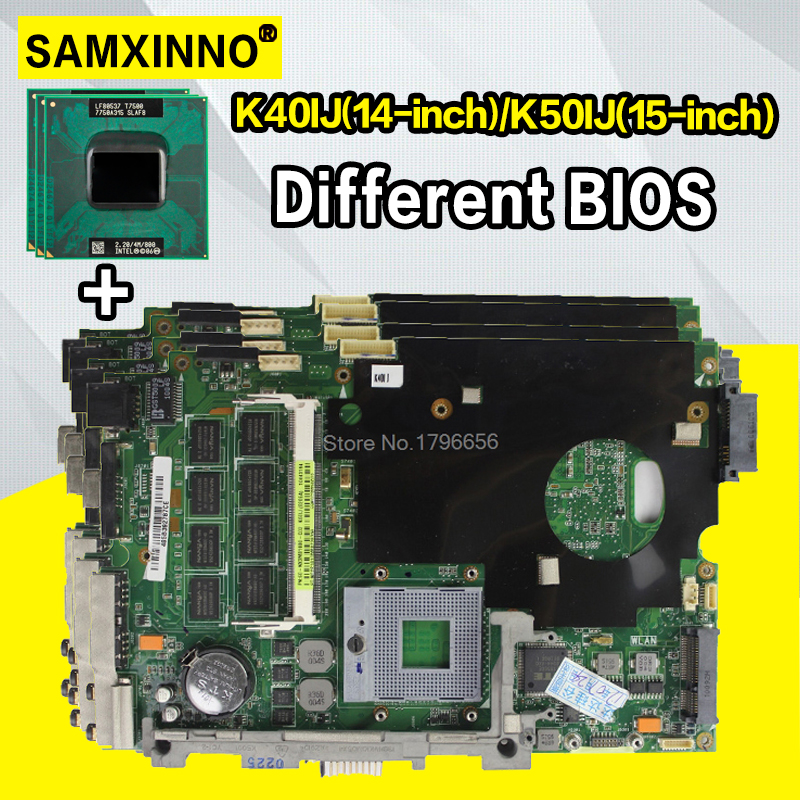 Com 2 gb ram + cpu mainboard para asus k40ij k50ij k60ij x5dij k40ad k50ad k40af k40ab k50ab k40in k50in placa-mãe do portátil