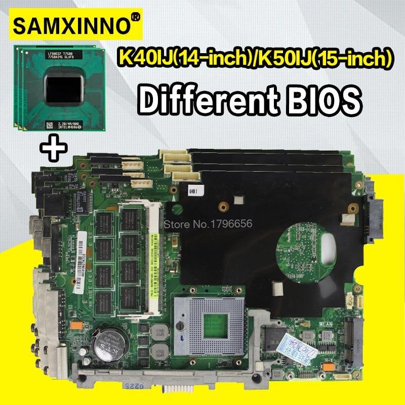 Com 2Gb RAM + cpu Mainboard Para ASUS K40IJ K50IJ K60IJ X5DIJ K40AD K50AD K40AF K50AF K40AB K50AB K40IN k50IN Laptop motherboard