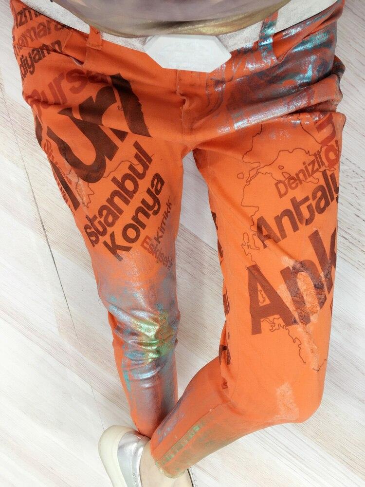 European Station Fashion Style Printing Stretch Orange Red Ls