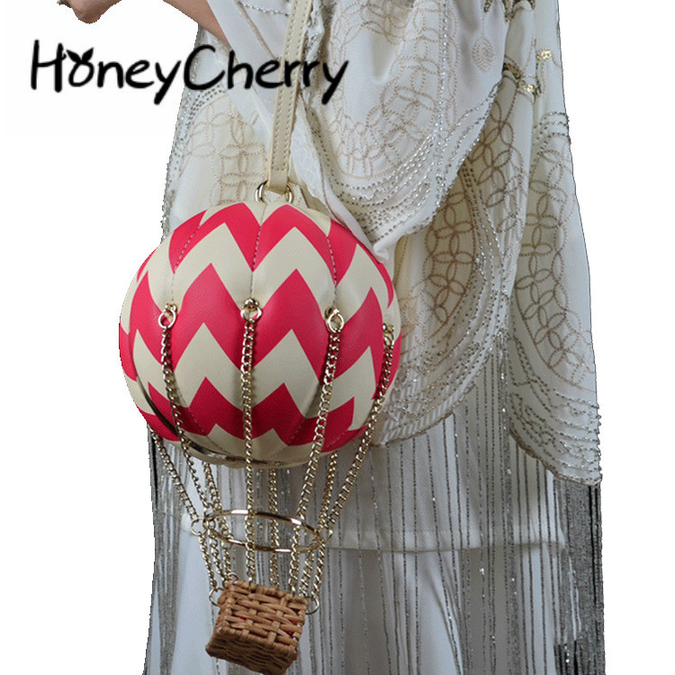 Creative Hot Balloon Ladies Single Shoulder Bag Chain Female Hand held Magnetic Button Bag Euramerican Skew