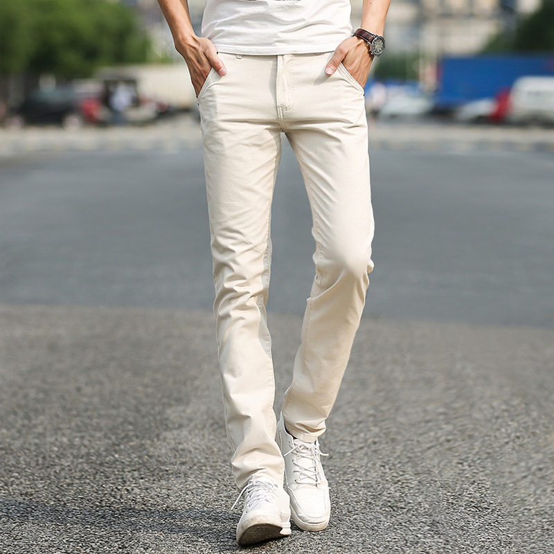 Business Casual Pants 11 Colors New Casual Pencil Pants Men Slim Pant Straight Trousers Solid Leisure Zipper Spring Summer K919
