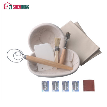 SHENHONG 7PCS Banneton Fermentation Proofing Rattan Basket Dough Bread with Arc Curved Knife Scraper Brush Danish Whisk Linen