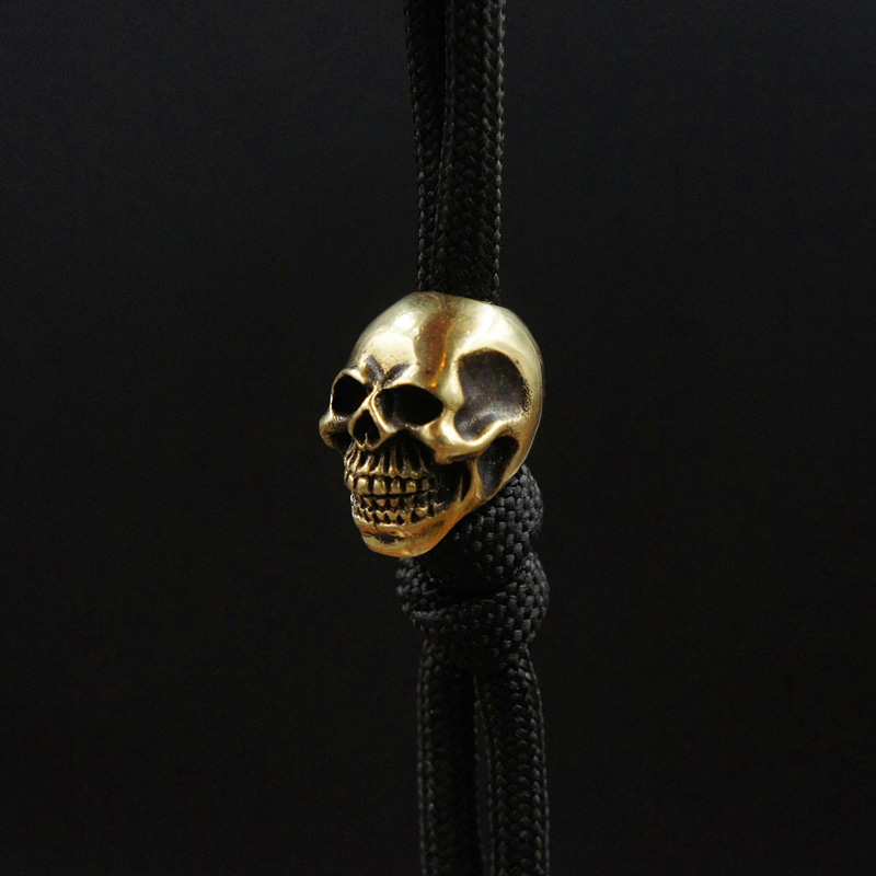 1PC Ghost Face Smile Skull Shape Brass Knife Beads Lanyard Pendant Paracord Umbrella Rope DIY Decorative Accessories Pendant|Outdoor Tools| |  -