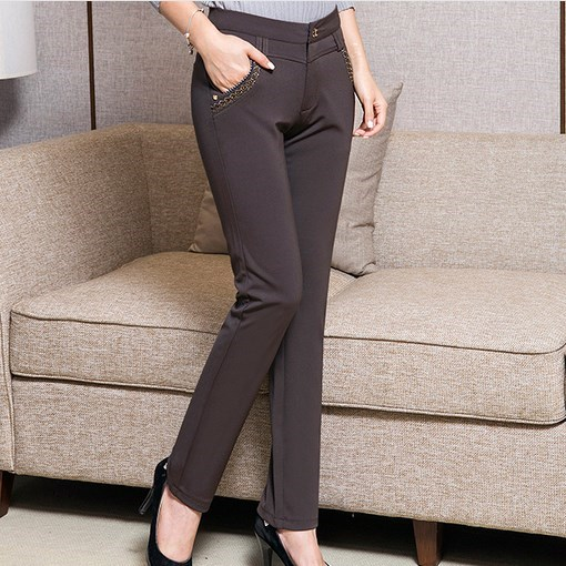 US $34.57 65% OFF|Korean Womens Black Grey Blue Dress Stretch Pants Plus  Size Formal Trousers Summer Work Wear Pants For Women Bottoms 7XL 6XL  5XL-in ...