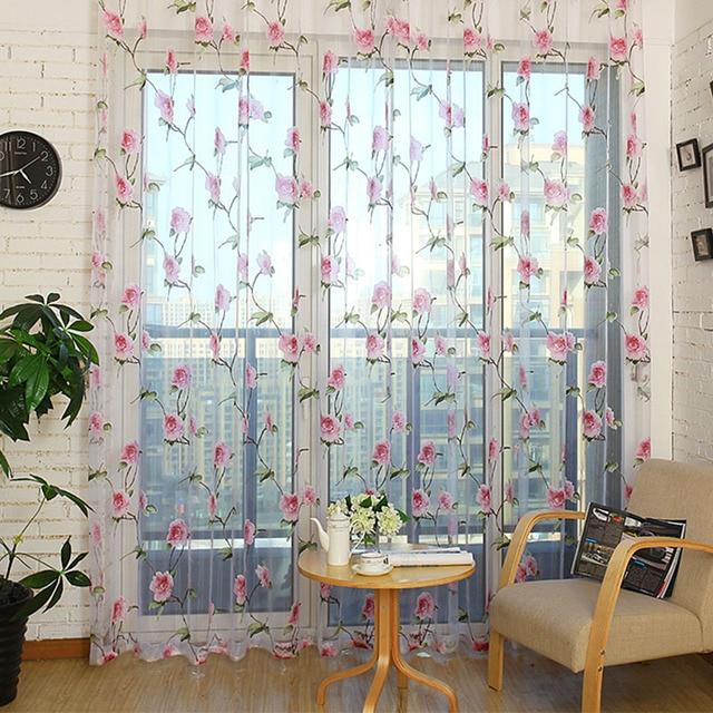 Living Room Bedroom Window Screening Translucidus Panel Modern Floral Pattern Tulle Sheer Curtains Screen