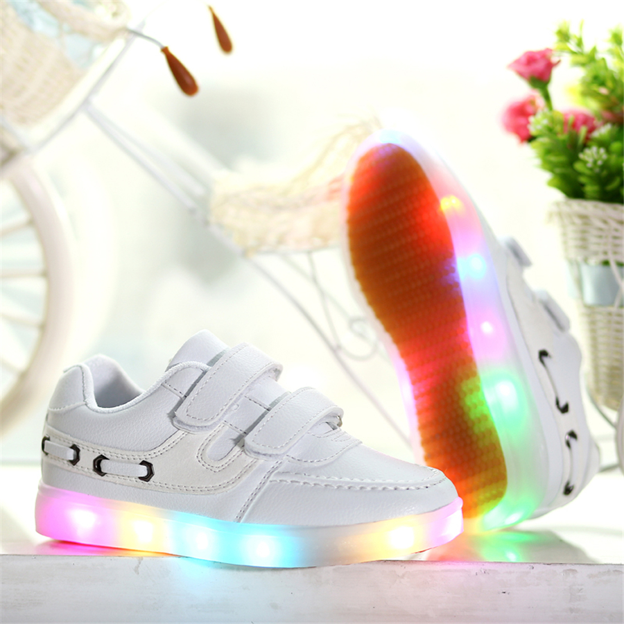 Children Shoes Spring Led Girls Shoes With Light USB Sport Footwear Casual Children Light Up Sneakers Kids Led Luminous 50Z0063 new hot sale children shoes pu leather comfortable breathable running shoes kids led luminous sneakers girls white black pink