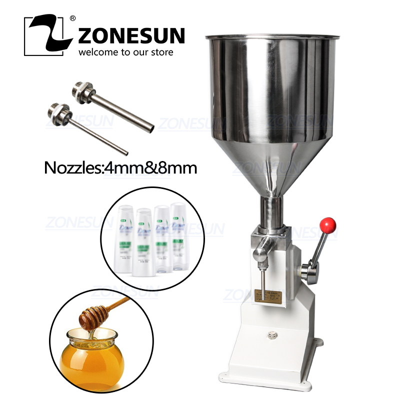 ZONESUN Handheld Manual Cosmetic Paste Liquid Filling Machine Cream Filler 5-50ml For Nail Polish Shampoo Cream Oil