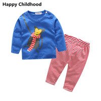 2017 Animal Monkey Tiger Baby Sets 2pcs Infant Clothing Sets Cartoon T Shirt Striped Pants Tracksuit
