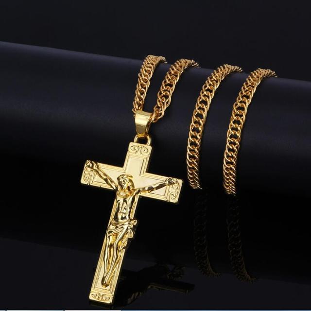 Nuovo 2017 Hip Hop Oro/Argento Placcato Vintage Gesù Croce Ciondolo Collana Catena di Gioielli Da Uomo