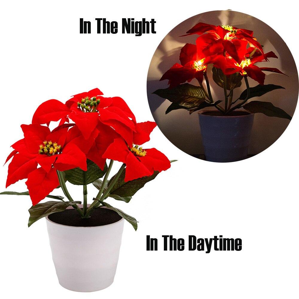 Christmas Flower Pots.Us 13 27 42 Off Artificial Bonsai Plant Solar Red Flower Lights Led Artificial Christmas Flower Bonsai Led Lamp Pot Home Decor F300401 In Flower