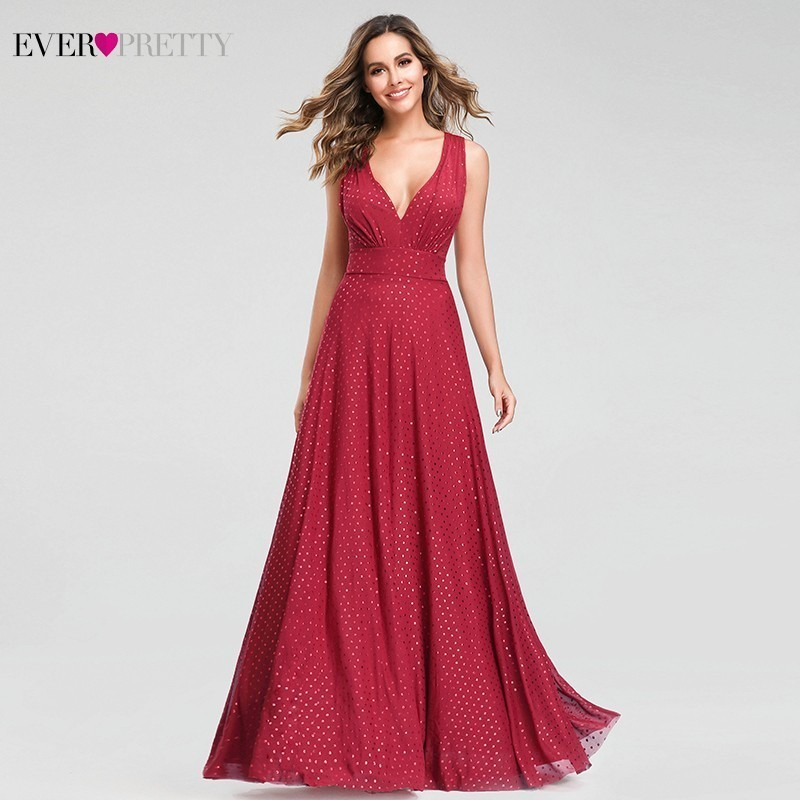 Red Dot Evening Dresses Long Ever Pretty A-Line V-Neck Sleeveless Formal Dresses Sexy Summer Party Gowns Robe De Soiree 2020