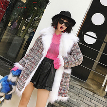 VARBOO_ELSA winter fur Furry Coat female long paragraph fight color on both sides to wear wool Thick Warm Faux Fur Jacket women