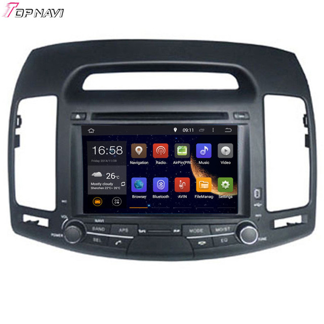 7 ''quad core android 5.1 gps del coche para hyundai elantra 2007 2008 2009 2010 2011 Con Stereo Radio Video 16 GB Flash Envío gratis
