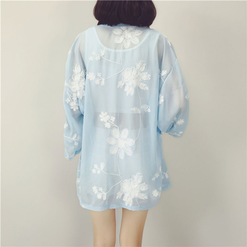 Large size chiffon shirt Summer womens thin section embroidery long shawl lady chiffon cardigan sun protection clother female