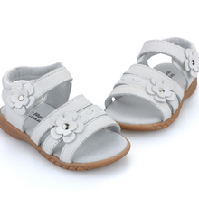 Girls sandals genuine leather white pink red open toe flowers summer girls shoes