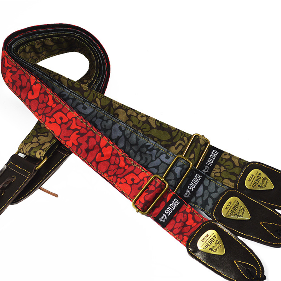 Soft Thick Camouflage Cotton Adjustable Bass Acoustic Electric Folk Guitar Strap with  Leather Ends