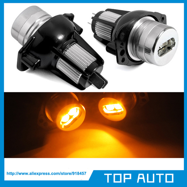 2X 6W 12W Amber/Yellow Led Angel Eyes Marker Halo Ring Bulb for BMW E90 E91led angelangel eyesled angel eyes