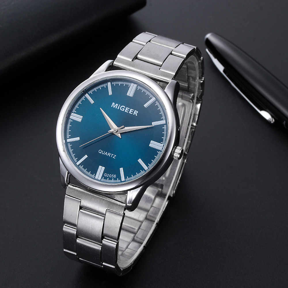 นาฬิกาผู้ชายแฟชั่นผู้ชายคริสตัลสุดหรูสแตนเลสสตีลAnalogควอตซ์นาฬิกาข้อมือธุรกิจนาฬิกาทหารนาฬิกาReloj Hombre