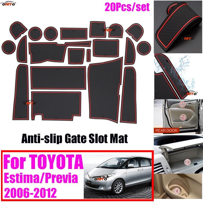 20Pcs/set 100% NEW Car Door Groove Mat Car Gate Slot Mat Anti-slip Coaster Sticker Covers For TOYOTA Estima Previa 2006-2012