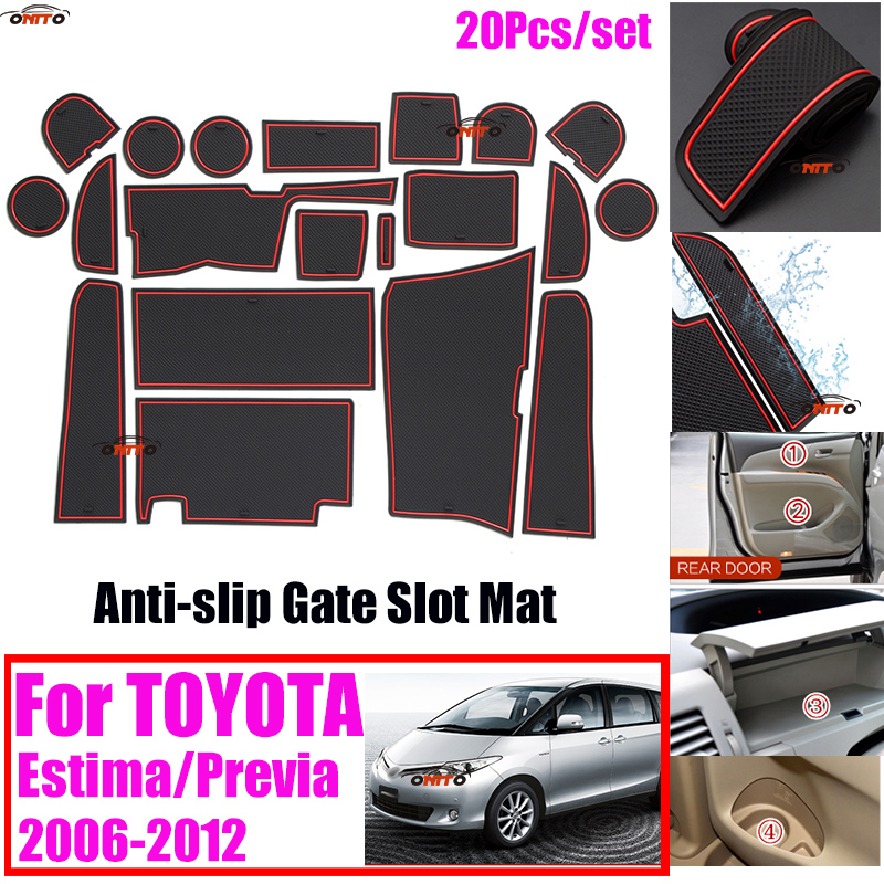 20Pcs/set 100% NEW Car Door Groove Mat Car Gate Slot Mat Anti-slip Coaster Sticker Covers for TOYOTA Estima Previa 2006-2012