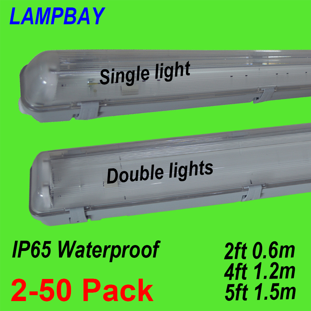 2-50pcs LED Tube Light Fixture 2ft(0.6m) 4ft(1.2m) 5ft(1.5m) T8 G13 Double Bulb Fitting Vapor Proof IP65 Waterproof Lamp Housing