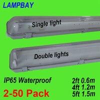 2 50pcs LED Tube Light Fixture 2ft(0.6m) 4ft(1.2m) 5ft(1.5m) T8 G13 Double Bulb Fitting Vapor Proof IP65 Waterproof Lamp Housing