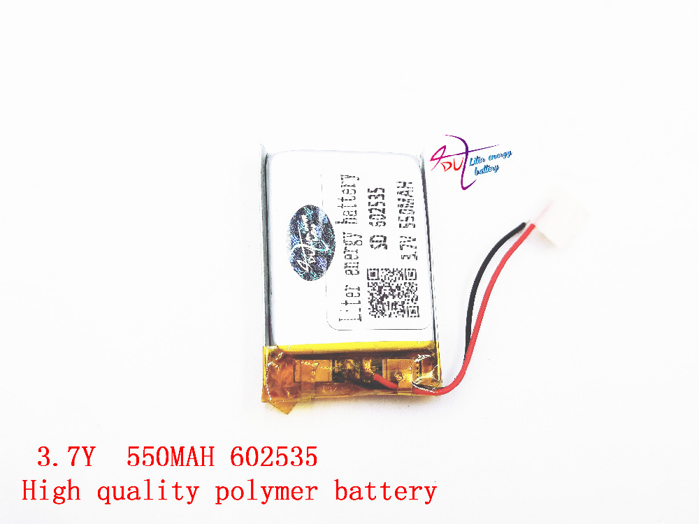 Polymer lithium battery 3.7 V, 602535 062535 550MAH can be customized wholesale CE FCC ROHS MSDS quality certification 5pcs 3 wire polymer lithium ion battery 3 7v 3360140 4000mah can be customized wholesale ce fcc rohs msds quality certification