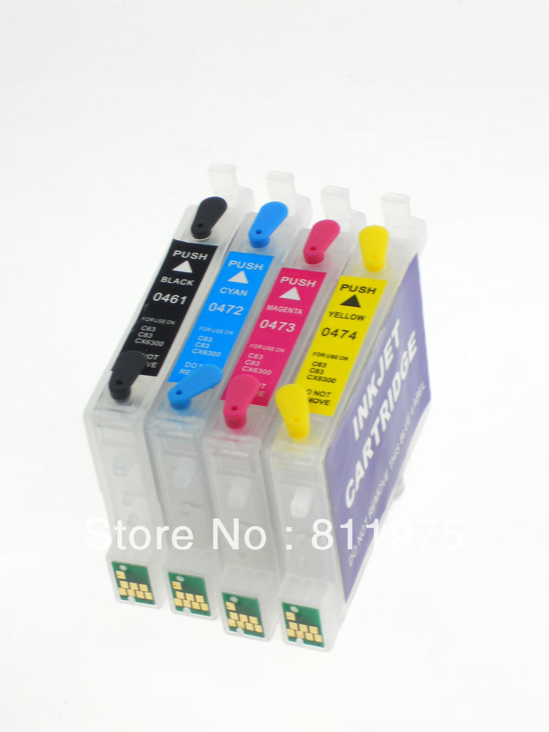 T0631 -T0634 Refillable ink Cartridge for EPSON STYLUS C67 C87 CX3700 CX4100 CX4700 PrintersT0631 -T0634 Refillable ink Cartridge for EPSON STYLUS C67 C87 CX3700 CX4100 CX4700 Printers