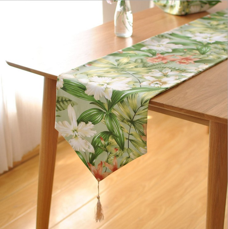 Spring And Summer Tropical Rainforests Style Printing Floral Table Runner Wedding Party Home Table Decoration Cloth8002ZQ
