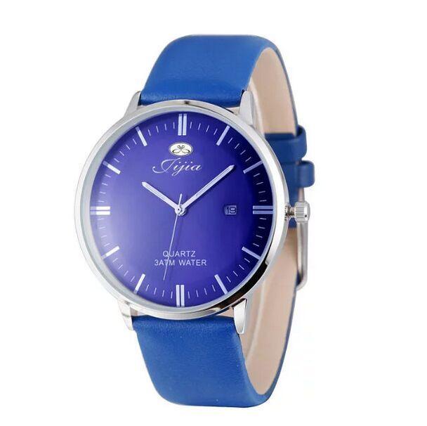 Estilo de La Manera ocasional Ultra Delgado Reloj de Los Hombres Del Cuarzo de Japón Y Función de Fecha Correa de Cuero Reloj de Pulsera