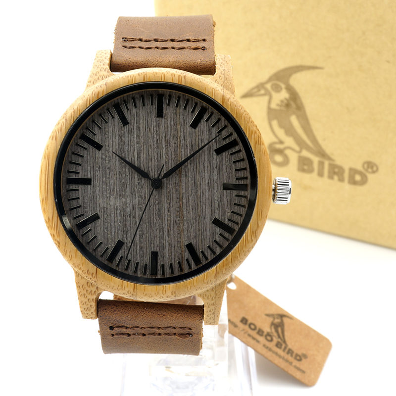 BOBO BIRD A18 Womens Casual Antique Round Bamboo Wooden Watch for Men Leather Strap Lady Watches Top Brand Luxury Wrist Watch bobo bird brand new sun glasses men square wood oversized zebra wood sunglasses women with wooden box oculos 2017