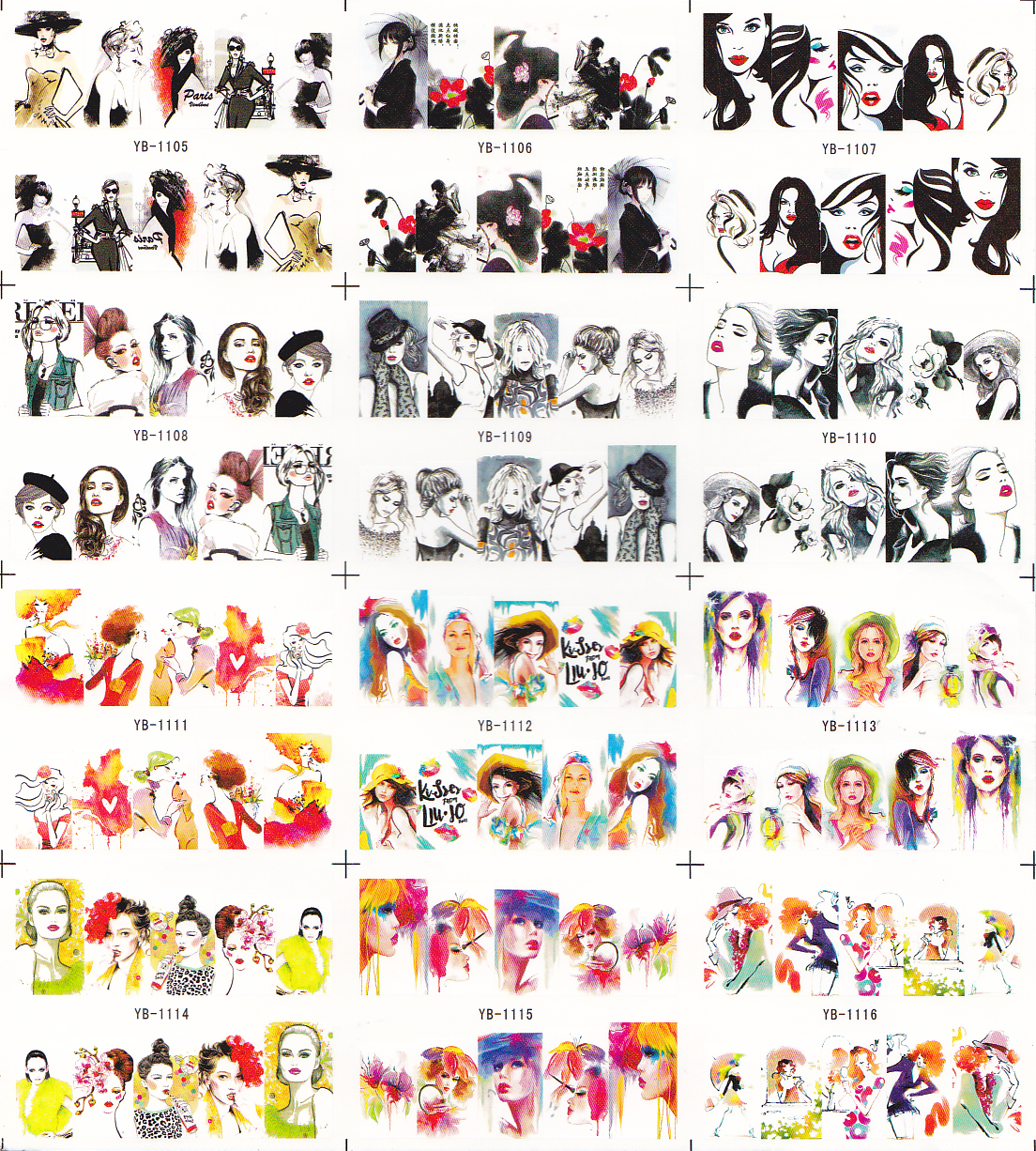 12 Sheets/Lot Nail YB1105-1116 Mixed Sexy Ink Fashion Girl Full Cover Nail Art Water Sticker Decal For Nail Supply