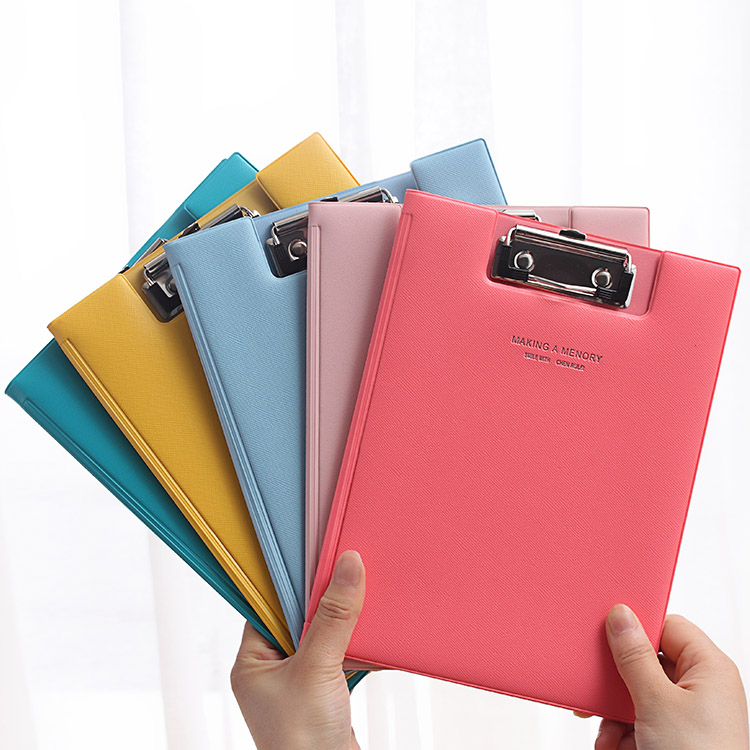 A5 Candy Color PU Straight Plywood Signed Clipboard Fold-Over Kawaii WordPad Vertical Fashion Writing Board Stationery