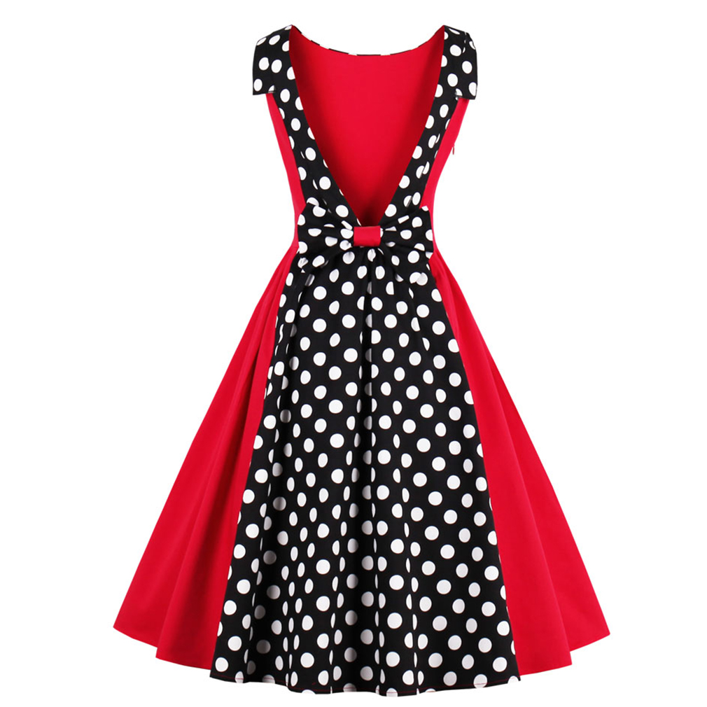 Women Hepburn Vintage Dress Sexy 50s Dot Elegant Summer Dress Patchwork Retro Dress Casual Evening Party Sleeveless Rockabilly