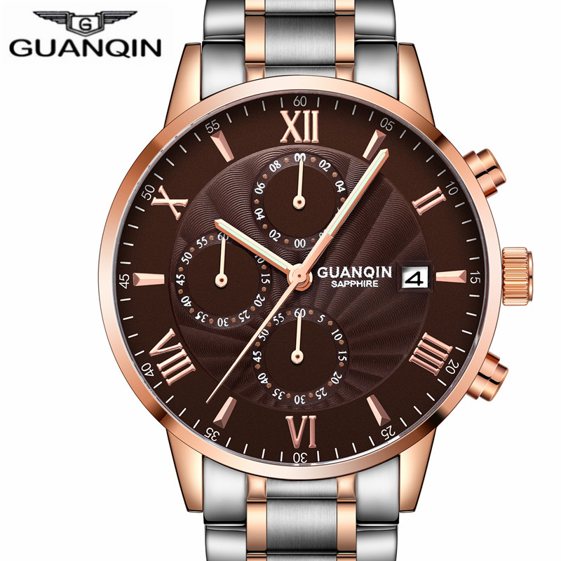 Mens Watches GUANQIN Top Brand Luxury Chronograph Clock Men Business Stainless Steel Waterproof Quartz Watch Relogio Masculino migeer relogio masculino luxury business wrist watches men top brand roman numerals stainless steel quartz watch mens clock zer