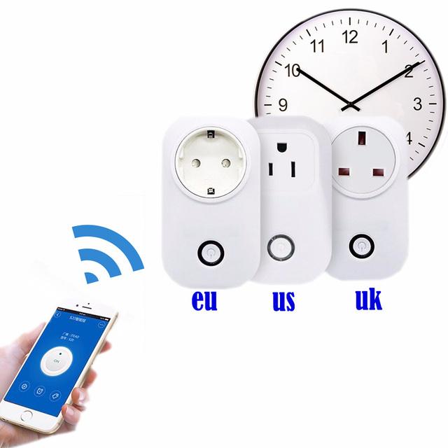 Wifi temporizador tomada plug Adapter ue Automação Residencial inteligente sem fio interruptor de alimentação de 220 v tomada de parede