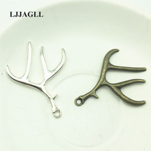 LJJAGLL 8Pcs/lot Antique Silver Bronze Alloy Christmas Charms Deer Antlers Pendants Keyring Earrings Jewelry Findings ASD037