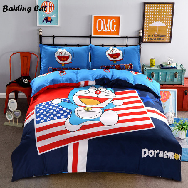 Low Price Cartoon 3D Doraemon Bedding Set For Adult/kids Gift Stitch  Pikachu Printed Bed Linen Duvet Cover Bed Sheet Pillowcases
