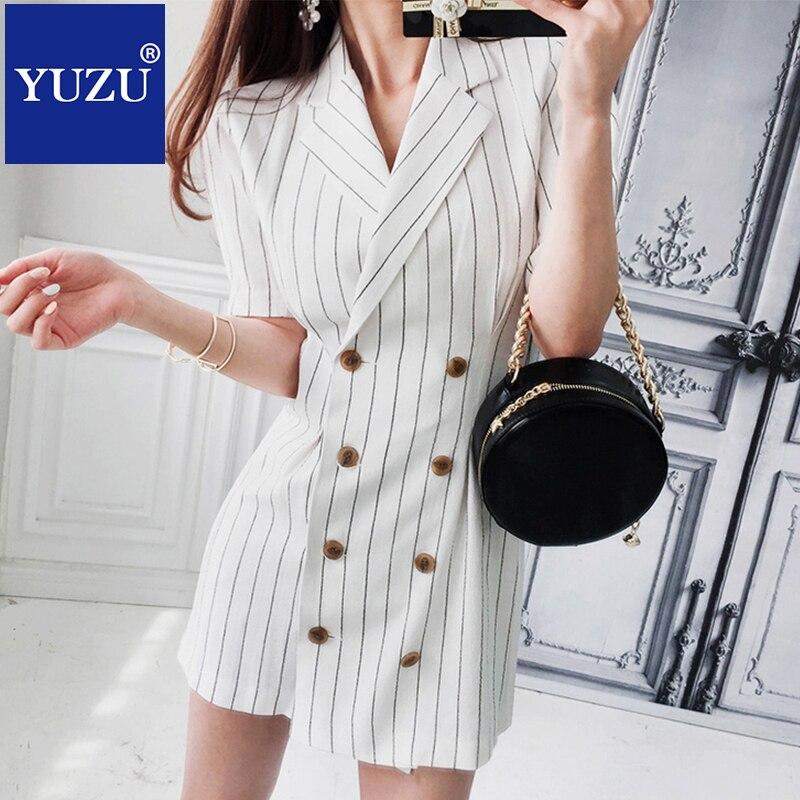 Для женщин деловой Блейзер платья для работы летняя элегантная двубортная модель черный, ...
