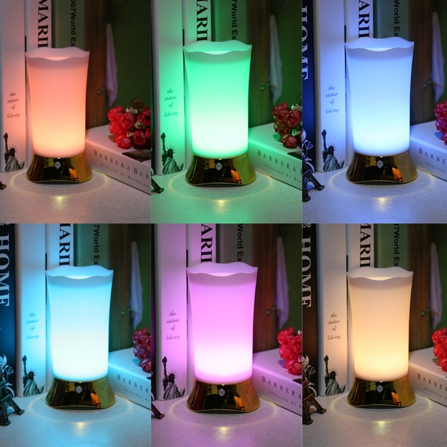 Hot Colorful Led Night Light Gold With Remote Control Table Lamp