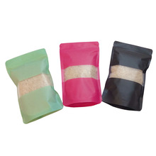 100 Pcs Stand Up Colorful Aluminum Foil Food Zipper Bag with Window, Pink Green Black Storage Packaging Plastic Pouch
