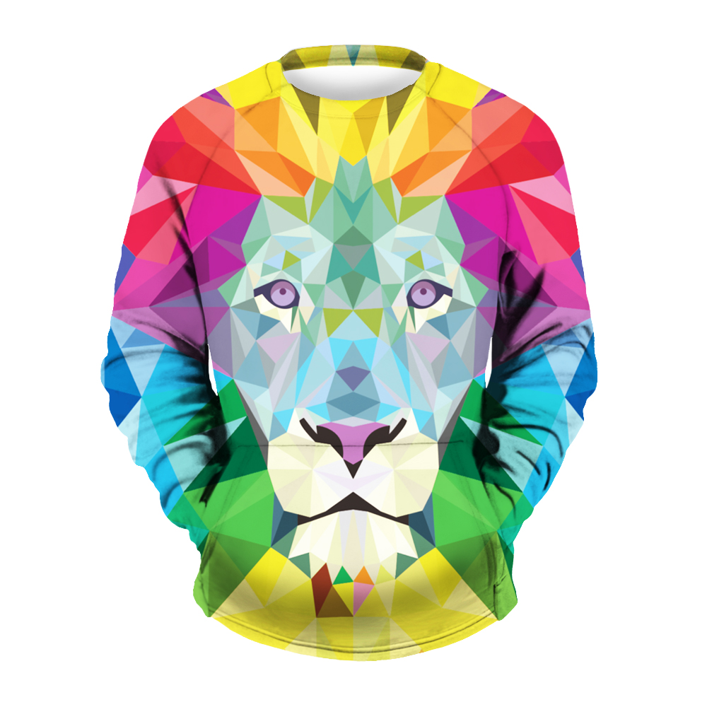 2017 New Style Winter Spring Autumn Men/women Sweatshirts 3d Print Animal Color Lion Hooded Hoodies Tops Pullover